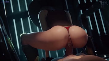 Animated with big tits gets rubbed