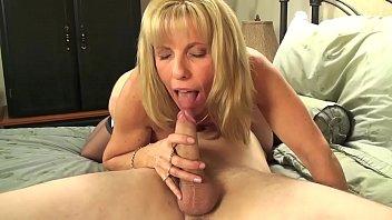 Blonde old grandma takes two cocks