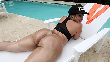 Busty Latina with Big Tits Angelina Castro Strips out of Sexy Thong Bikini