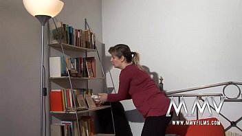 Granny and boys teen threesome in the office