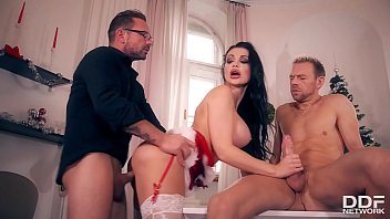 Hot Brunette Tania Gets Herself Two Big Cocks