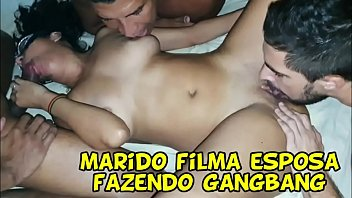 Tiny teen Haley with three boys gangbang