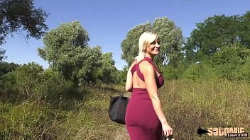 Young euro blonde gives head outdoor